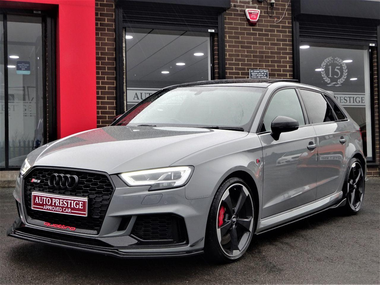 Audi RS3 2.5 Quattro 5dr S Tronic NARDO GREY HUGH SPEC PAN ROOF RED STITCHED BUCKET LEATHER SPORTS EXHAUSTS Hatchback Petrol Grey at Autoprestige Bradford
