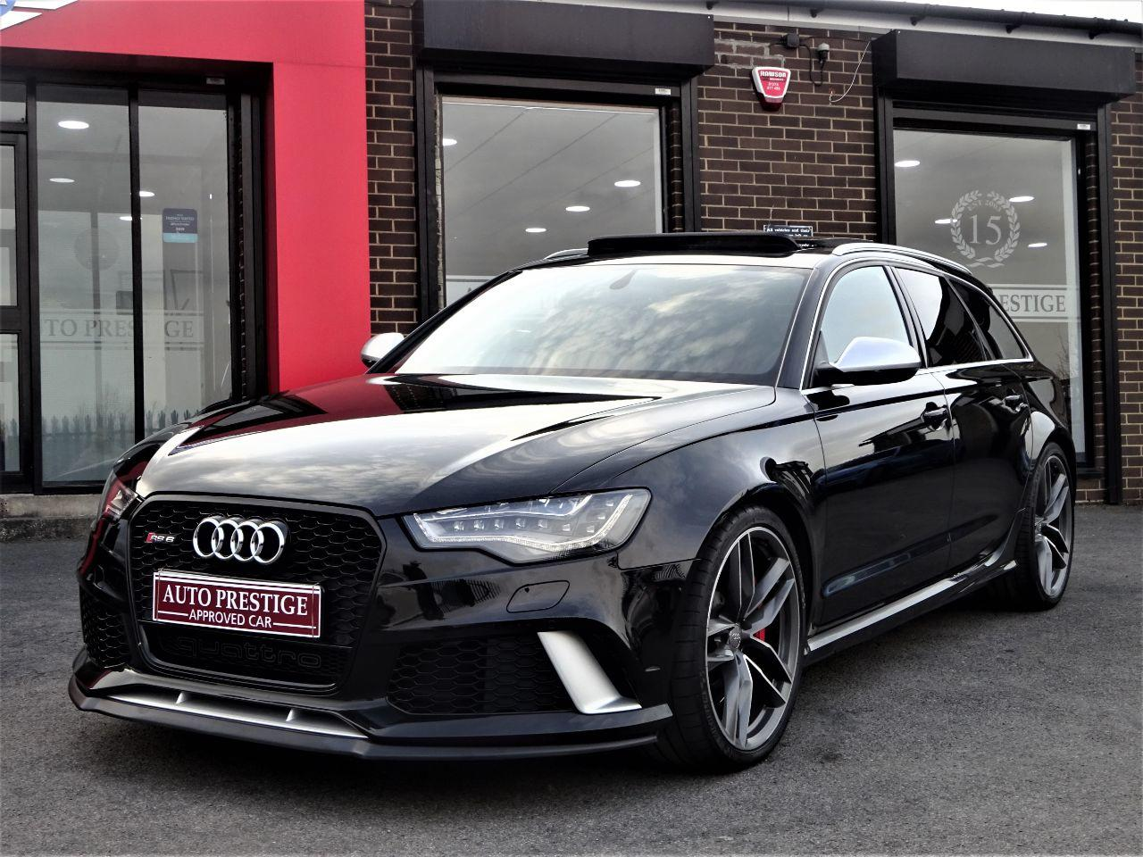 Audi RS6 4.0 Bi-Turbo Quattro 5dr Tip Auto 64 REG DYNAMIC PACK PAN ROOF MILTEKS Estate Petrol Black at Autoprestige Bradford