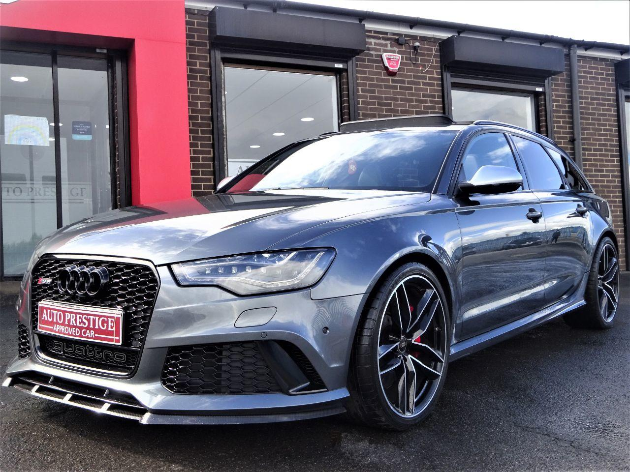Audi RS6 4.0T FSI V8 Bi-Turbo RS6 Quattro 5dr Tip Auto HUGH SPEC PAN ROOF CAMERAS SPORTS EXHAUSTS BLACK PACK Estate Petrol Grey at Autoprestige Bradford