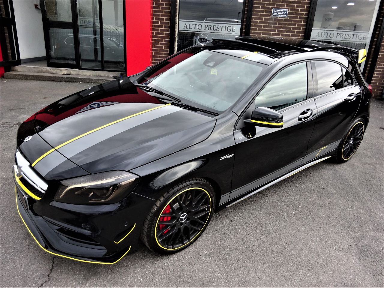 Mercedes-Benz AMG 2.0 A45 4Matic Premium 5dr Auto BLACK BRAND NEW DRY STORED VATQ YELLOW NIGHT EDITION SPEC 67 Hatchback Petrol Black
