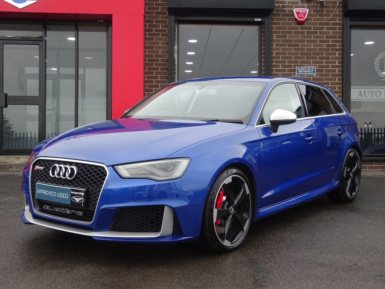 Audi RS3 2.5 TFSI Quattro 5dr S Tronic 65 REG SEPANG BLUE AUDI WARRANTY MAG RIDE DYNAMIC PACK SPORTS EXHAUST Hatchback Petrol Blue at Autoprestige Bradford