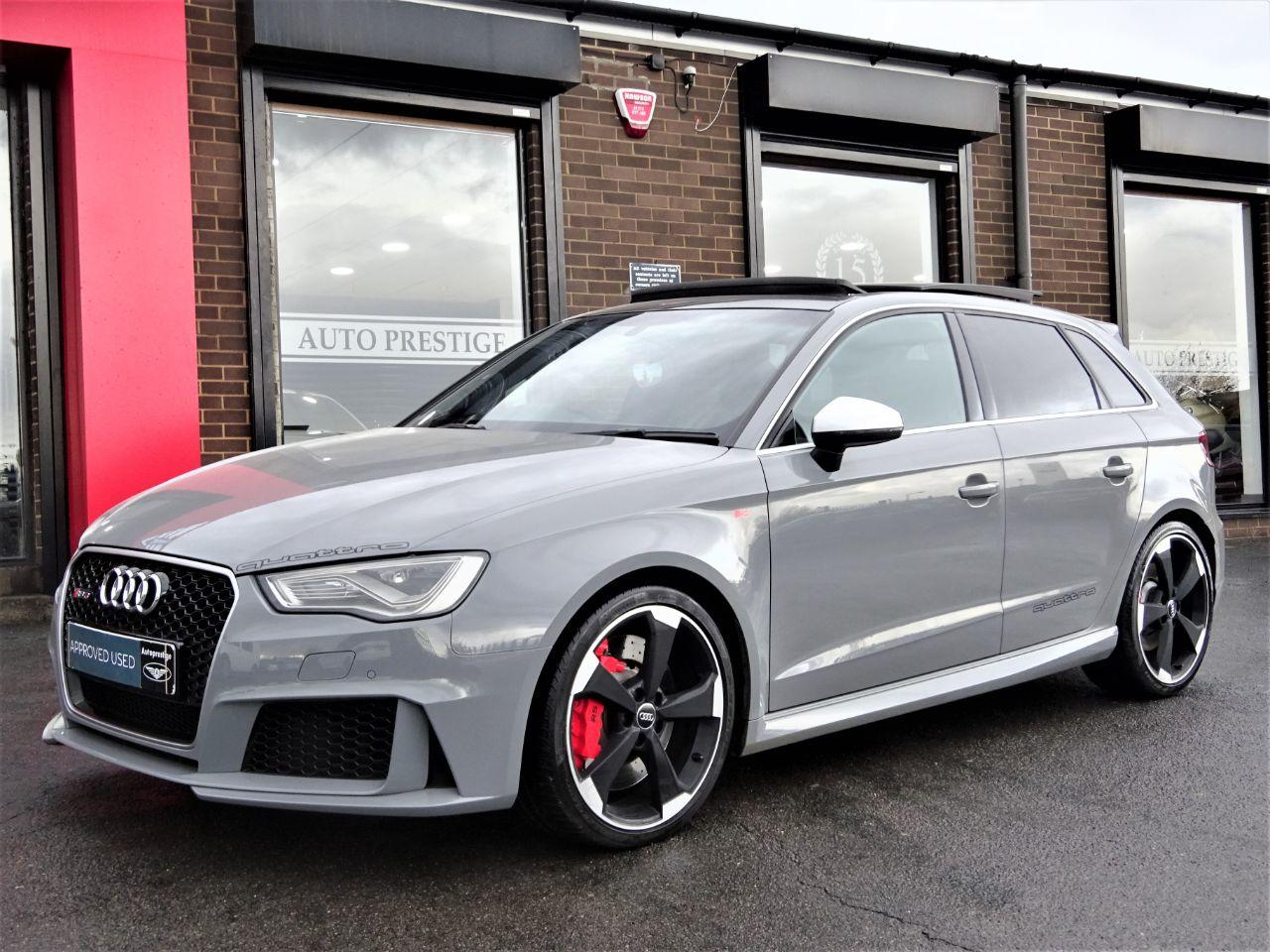 Audi RS3 2.5 TFSI RS 3 Quattro 5dr S Tronic [Nav]MASSIVE SPEC NARDO GREY PAN ROOF DYNAMIC PACK Hatchback Petrol Grey at Autoprestige Bradford