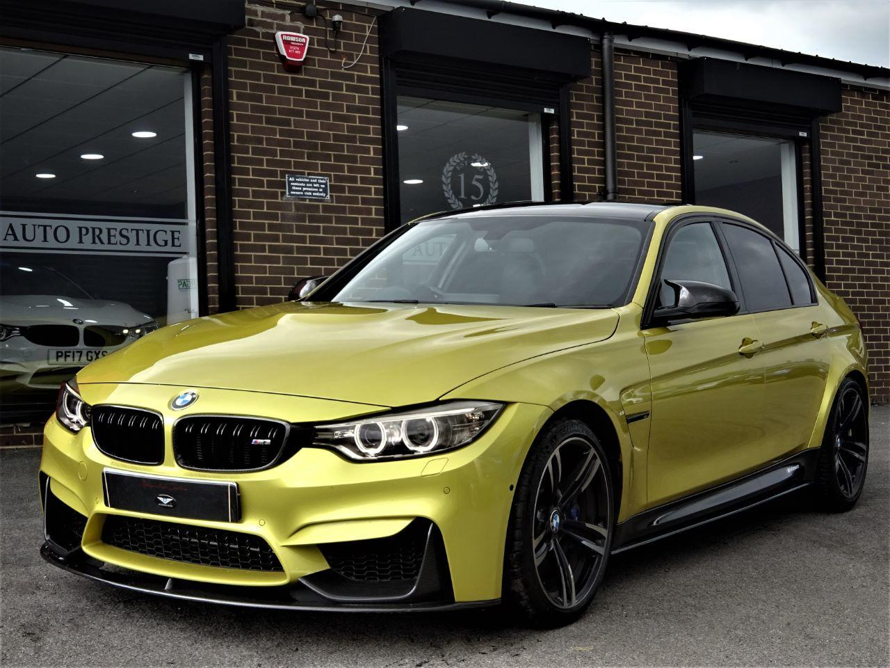 BMW M3 3.0 S-A WITH CARBON PACK RARE AUSTIN YELLOW LOW MILEAGE FBMWSH JUST SERVICED Saloon Petrol Yellow at Autoprestige Bradford