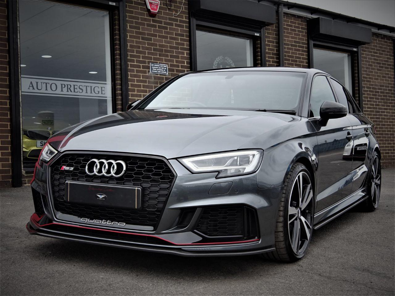 Audi RS3 2.5 TFSI RS 3 Quattro 4dr S Tronic WITH EXTRAS 68 REG AS  NEW LOW MILEAGE CARBON AERO PACK Saloon Petrol Daytona Grey Pearl Effect at Autoprestige Bradford