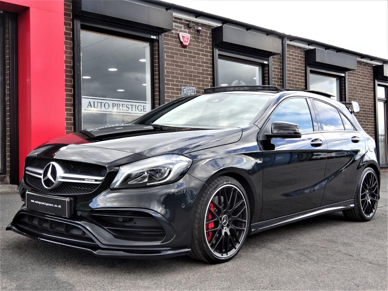 Mercedes-Benz A Class 2.0 A45 4Matic Premium 5dr Auto WITH EXTRAS AND EXTENDED WARRANTY Hatchback Petrol Black at Autoprestige Bradford