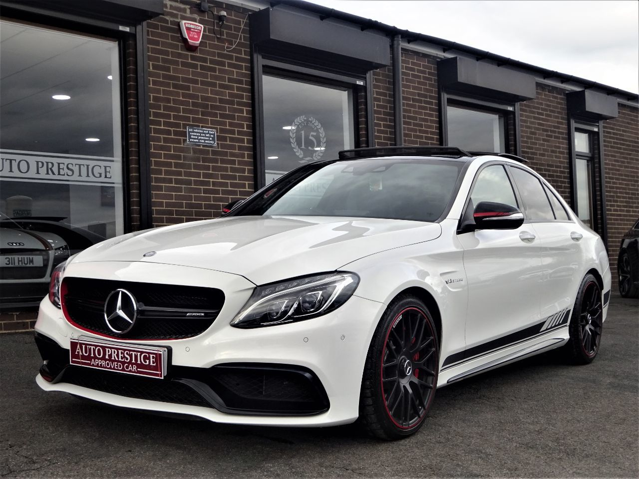 Mercedes-Benz C Class 4.0 C63 S Premium 4dr Auto WITH PAN ROOF JUST HAD 2500 SPENT AT MB Saloon Petrol White at Autoprestige Bradford